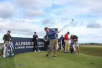 Sir Nick Faldo drives from the windy 12th tee during the practice round before the 2014 Alfred Dunhill Links Championship, The Old Course, St Andrews, Fife, Scotland. Picture:  David Lloyd / www.golffile.ie