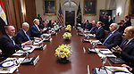 Egyptian President Abdel-Fattah el-Sisi meets with United States President Donald J. Trump in the Oval Office of the White House in Washington, DC, USA on April 9, 2019. . Photo by Egyptian President Office