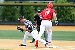 21 May 2016: Louisville's Drew Ellis (10) is thrown out at first base with Wake Forest's Gavin Sheets (left) making the catch. The Wake Forest University Demon Deacons played the University of Louisville Cardinals in an NCAA Division I Men's baseball game at David F. Couch Ballpark in Winston-Salem, North Carolina. Louisville won the game 9-4.