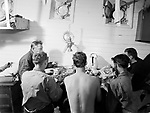 Shipmates sharing a meal onboard a ship, Finland 1950s