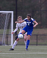 Hofstra University forward Salma Tarik (8) traps the ball as Boston College midfielder Zoe Lombard (20) pressures. Boston College defeated Hofstra University, 3-1, in second round NCAA tournament match at Newton Soccer Field, Newton, MA.