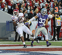 NWA Democrat-Gazette/MICHAEL WOODS • @NWAMICHAELW<br /> University of Arkansas rtight end Jeremy Sprinkle (83) makes a touchdown catch in front of Kansas State defender Morgan Burns (33)  in the 3rd quarter of the Razorbacks 45-23 win over Kansas State in the 57th annual AutoZone Liberty Bowl January 2, 2016.