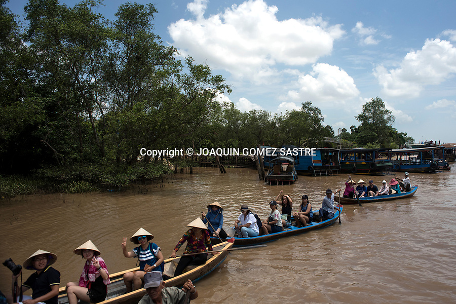 The Mekong River delta offers many boat trips for tourists (mostly locals) near Ho Chi Minh City (Vietnam).<br /> HO CHI MINH-VIETNAM