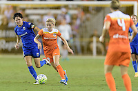 Houston, TX - Sunday Sept. 25, 2016: Keelin Winters, Denise O'Sullivan during a regular season National Women's Soccer League (NWSL) match between the Houston Dash and the Seattle Reign FC at BBVA Compass Stadium.