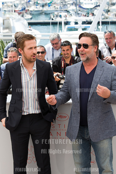 Ryan Gosling, Russell Crowe   attends 'The Nice Guys' photocall  at the 69th Festival de Cannes.<br /> May 15, 2016  Cannes, France<br /> Picture: Kristina Afanasyeva / Featureflash