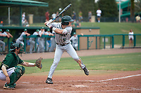Dartmouth Big Green center fielder Trevor Johnson (36) at bat in front of catcher Tyler Dietrich (38) during a game against the USF Bulls on March 17, 2019 at USF Baseball Stadium in Tampa, Florida.  USF defeated Dartmouth 4-1.  (Mike Janes/Four Seam Images)