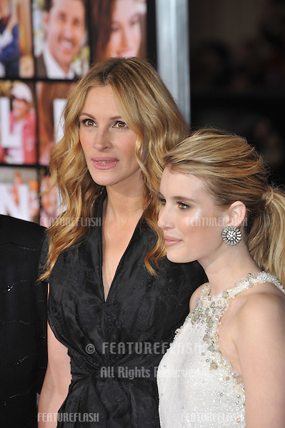 "Julia Roberts (left) & Emma Roberts at the world premiere of their new movie ""Valentine's Day"" at Grauman's Chinese Theatre, Hollywood..February 8, 2010  Los Angeles, CA.Picture: Paul Smith / Featureflash"
