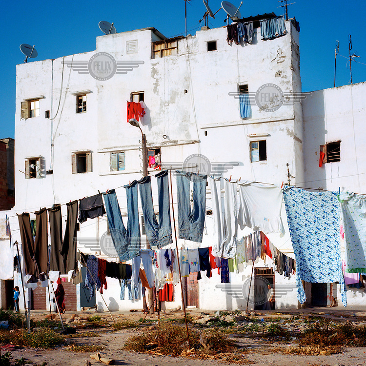 Washing hangs out to dry in Casablanca.