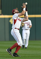 NWA Democrat-Gazette/ANDY SHUPE<br />Arkansas left fielder Luke Bonfield makes a catch against Mississippi State Friday, March 17, 2017, during the first inning at Baum Stadium in Fayetteville. Visit nwadg.com/photos to see more photographs from the game.