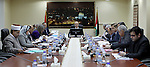 A handout picture released by Prime Minister Office shows Palestinian Prime Minister Rami Hamdallah chairs a meeting of Council of Ministers, in the West Bank city of Ramallah on April 7, 2015. Photo by Prime Minister Office