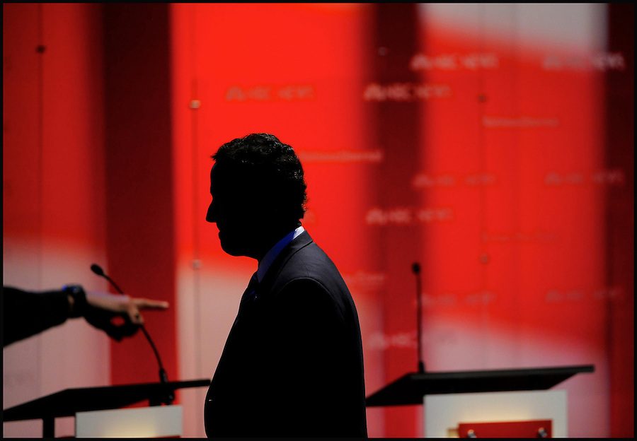 Republican presidential candidate Rick Santorum exits the stage temporarily during a break in the NBC News, Tampa Bay Times, National Journal Republican Presidential Candidates Debate at the University of South Florida in Tampa, Florida, USA, 23 January 2012. The Florida Primary is set for 31 January 2012.