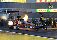 May 31, 2013; Englishtown, NJ, USA: NHRA top fuel dragster driver Leah Pruett during qualifying for the Summer Nationals at Raceway Park. Mandatory Credit: Mark J. Rebilas-