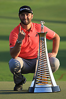 Jon Rahm (ESP) shows he's No1 at the prize giving ceremony during the final round of the DP World Championship, Earth Course, Jumeirah Golf Estates, Dubai, UAE. 24/11/2019<br /> Picture: Golffile | Phil INGLIS<br /> <br /> <br /> All photo usage must carry mandatory copyright credit (© Golffile | Phil INGLIS)