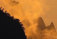 Ridges of Kalalau Valley from Kalalau Overlook, Kokee State Park, Kauai, sunset.