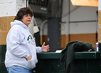 Photo By Kristin Eberts: Beth Cooley, Vice President of the Athens High School Athletic Boosters, gets emotional as she surveys the wreckage at the AHS football stadium on Friday, Sept. 17, 2010, in The Plains, Ohio. An unconfirmed tornado ripped through The Plains, Ohio Thursday Sept. 16, 2010, causing downed power lines, uprooted trees, overturned mobile homes and significant damage to Athens High School.