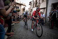 Jan Bakelants (BEL/Sunweb) & Danilo Wyss (SUI/Dimension Data) up the steep, cobbled & crowded climb in Pinerolo<br /> <br /> Stage 12: Cuneo to Pinerolo (158km)<br /> 102nd Giro d'Italia 2019<br /> <br /> ©kramon