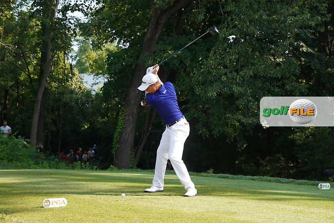 Justin Thomas (USA) tees off on the 17th hole during the second round of the 100th PGA Championship at Bellerive Country Club, St. Louis, Missouri, USA. 8/11/2018.<br /> Picture: Golffile.ie | Brian Spurlock<br /> <br /> All photo usage must carry mandatory copyright credit (© Golffile | Brian Spurlock)