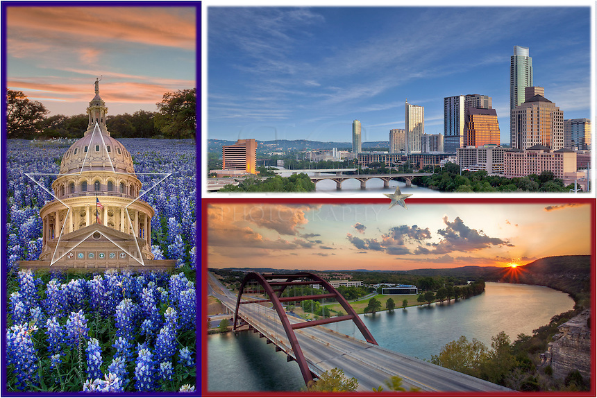 I put together this collage of images from around Austin, Texas, including the skyline, the view from the 360 Bridge, and bluebonnets and the state capitol.