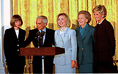 From left to right:  Anna Wintour, editor of Vogue Magazine; designer Ralph Lauren; first lady Hillary Rodham Clinton; Katherine Graham, Chairman and Publisher of the Washington Post; and Princess Diana pose for a group photo in the East Room of The White House prior to a breakfast for the Nina Hyde Center for Breast Cancer Research on September 24, 1996.<br /> Credit: Ron Sachs / CNP