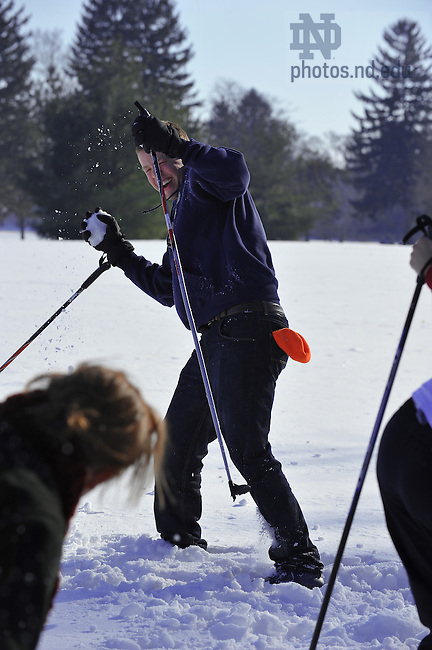 Cross-Country Skiing on the Burke Golf Course..Photo by Matt Cashore/University of Notre Dame