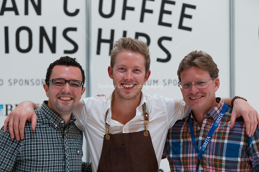 March 15, 2015: David Makin and Matt Lewin pose for a photo at the 2015 Australian Barista Championships at the Showgrounds, Melbourne, Australia. Photo Sydney Low.