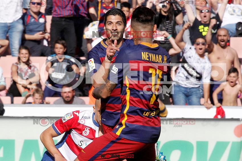 FC Barcelona's Luis Suarez (l) and Neymar Santos Jr celebrate goal during La Liga match. May 14,2016. (ALTERPHOTOS/Acero) /NortePhoto.com