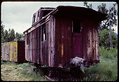 View of old caboose and refrigerator car.<br /> D&amp;RGW