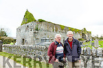 Killeagh Abbey restoration Group project Milltown has been completed with the the repair of the corner stone in the west gable pictured , James Cronin, Donie McCarthy,