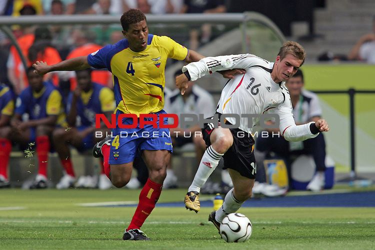 FIFA WM 2006 - Gruppe A ( Group A )<br /> <br /> Play #33 (20-Jun) - Ecuador vs Germany.<br /> <br /> Philipp Lahm (r) from Germany and Ulises De La Cruz (l) from Ecuador fight for the ball during the match of the World Cup in Berlin.<br /> <br /> Foto &copy; nordphoto