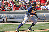 Matt Fields #48 of the Montgomery Biscuits leading off of 3rd base during a game against the Carolina Mudcats on April 18, 2010 in Zebulon, NC.
