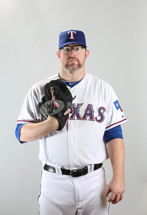 Feb. 20, 2013; Surprise, AZ, USA: Texas Rangers pitcher Nate Robertson poses for a portrait during photo day at Surprise Stadium. Mandatory Credit: Mark J. Rebilas-