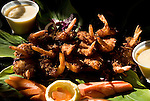 Hawaii: Molokai, Hotel Molokai, scene of Friday night entertainment by locals at the Hotel Molokai, with singers, ukulele strummers, hula dancers, and good food, such as coconut shrimp, and drink, such as rum mai tais. .Photo himolo182-71763..Photo copyright Lee Foster, www.fostertravel.com, lee@fostertravel.com, 510-549-2202