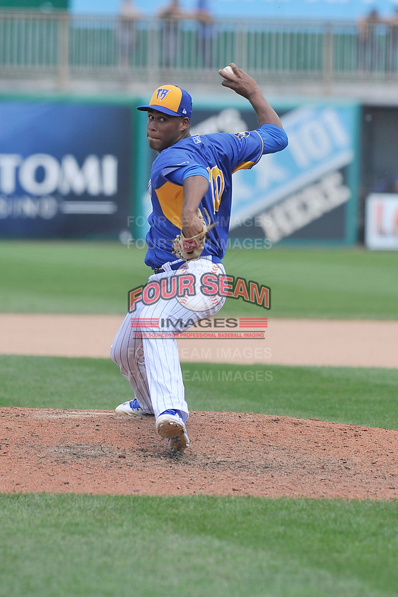 Wisconsin Timber Rattlers pitcher Miguel Sanchez (10) throws during a game against the Quad Cities River Bandits at Fox Cities Stadium on June 27, 2017 in Appleton, Wisconsin.  Wisconsin lost 6-5.  (Dennis Hubbard/Four Seam Images)