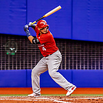 26 March 2018: St. Louis Cardinals catcher Yadier Molina in action during an exhibition game against the Toronto Blue Jays at Olympic Stadium in Montreal, Quebec, Canada. The Cardinals defeated the Blue Jays 5-3 in the first of two MLB pre-season games in the former home of the Montreal Expos. Mandatory Credit: Ed Wolfstein Photo *** RAW (NEF) Image File Available ***