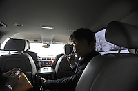 Illinois Governor Rod Blagojevich rides in a car on his way home in Chicago, Illinois on January 29, 2009.  Earlier in the day, he spoke in his own defense at his impeachment hearing at the state capitol in Springfield, Illinois.