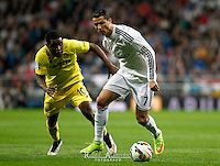 Real Madrid´s Portuguese forward Cristiano Ronaldo and Villareal´s J. Campbell