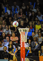 Irene Van Dyk shoots for goal during the ANZ Netball Championship match between the Central Pulse and Waikato Bay Of Plenty Magic at TSB Bank Arena, Wellington, New Zealand on Monday, 30 March 2015. Photo: Dave Lintott / lintottphoto.co.nz