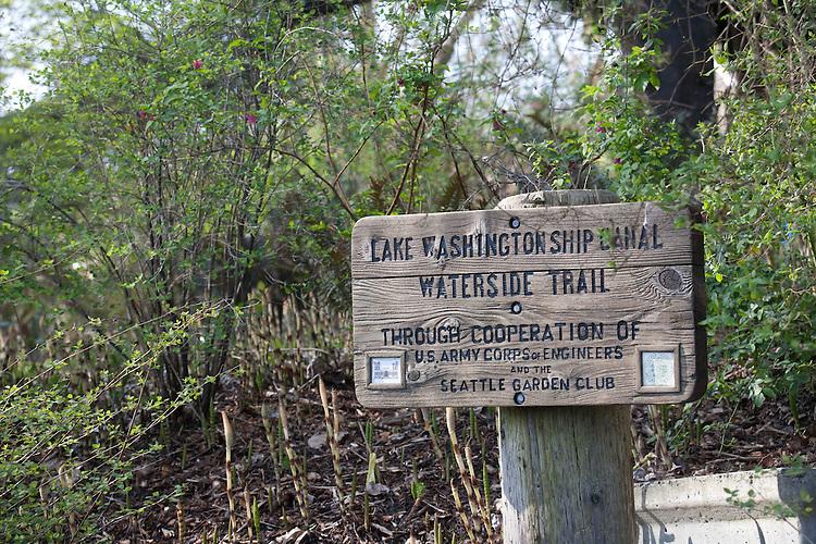 Seattle, Montlake, Lake Washington Ship Canal Waterside Trail, sign, Washington State, Pacific Northwest, USA,