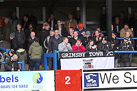 Grimsby Town fans during the Vanarama National League match between Dover Athletic and Grimsby Town at the Crabble Athletic Ground, Dover, England on 16 April 2016. Photo by Tony Fowles/PRiME Media Images/PRiME Media Images.