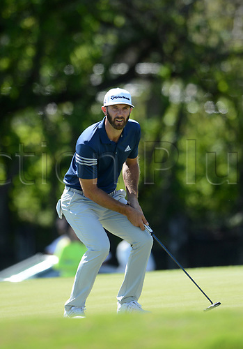 March 25th 2017, Austin, TX, USA; Dustin Johnson buckles in disgust after missing a putt by less than an inch on the twelfth hole during the quarterfinals of the WCG-Dell Technologies Match Play on March 25, 2017, at the Austin Country Club in Austin, TX.