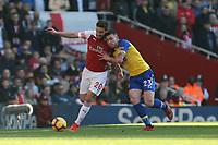 Shkodran Mustafi of Arsenal and Pierre-Emile Hojbjerg of Southampton during Arsenal vs Southampton, Premier League Football at the Emirates Stadium on 24th February 2019