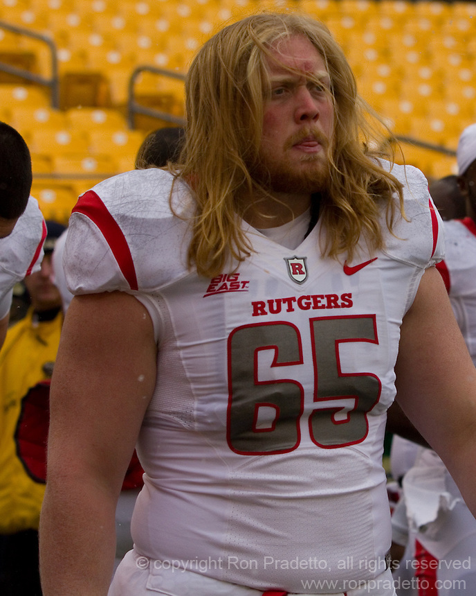 Rutgers center Dallas Hendrikson. The Pitt Panthers defeat the Rutgers Scarlet Knights 27-6 on Saturday, November 24, 2012 at Heinz Field , Pittsburgh, PA.