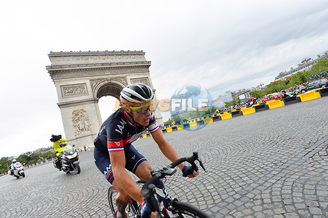 Sylvain CHAVANEL (FRA) IAM Cycling out front passes the Arc de Triomphe on the Champs Elysees in Paris during Stage 21 of the 2015 Tour de France running 109.5km from Sevres to Paris - Champs Elysees, France. 26th July 2015.<br /> Photo: ASO/B.Bade/Newsfile