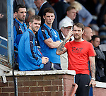 Jordan McMillan in with the Rangers boys in the stand