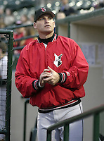 May 15, 2004:  Scott Sheldon of the Indianapolis Indians, Triple-A International League affiliate of the Milwaukee Brewers, during a game at Frontier Field in Rochester, NY.  Photo by:  Mike Janes/Four Seam Images