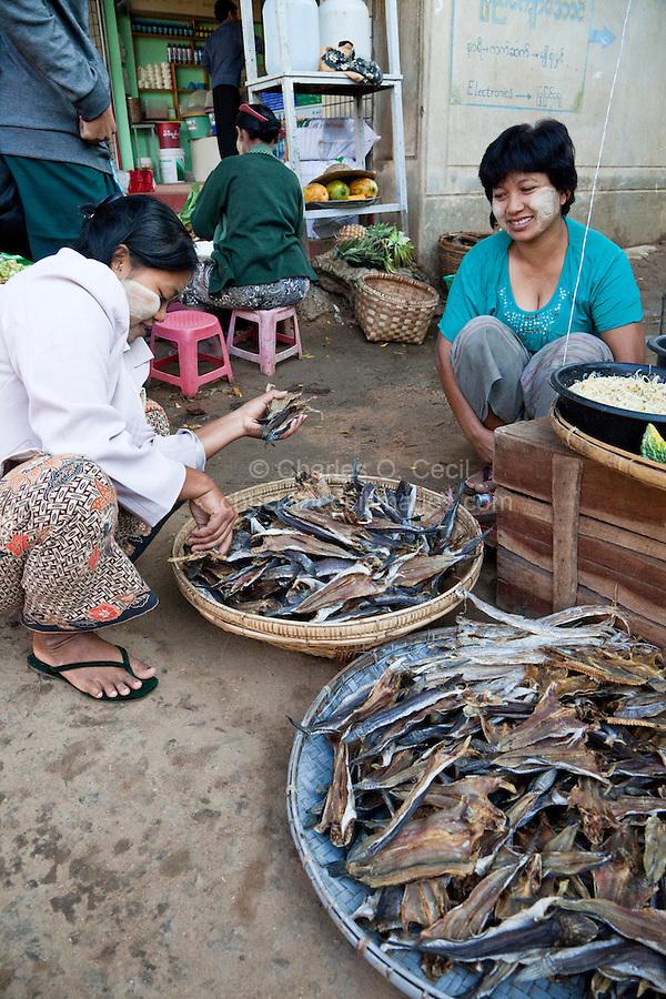 Myanmar, Burma  Customer Selecting Dried Fish in Bagan