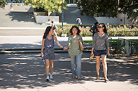 From left, Sarah Hyun '15, her mother Jinhee and sister Esther. Her mother is in town from Oregon and her sister from San Francisco.. Homecoming & Family Weekend, Friday and Saturday, Oct. 18-19, 2013. (Photo by Marc Campos, Occidental College Photographer)