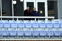 CHAPEL HILL, NC - NOVEMBER 16: Director of Athletics Scott Corley of Belmont University and Athletic Director Bubba Cunningham of the University of North Carolina watch from the stands during a game between Belmont and North Carolina at UNC Soccer and Lacrosse Stadium on November 16, 2019 in Chapel Hill, North Carolina.