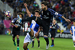 Diego Rico of Club Deportivo Leganes competes for the ball with Sergio Ramos of Real Madrid during the match of  La Liga between Club Deportivo Leganes and Real Madrid at Butarque Stadium  in Leganes, Spain. April 05, 2017. (ALTERPHOTOS / Rodrigo Jimenez)