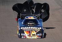 Oct. 16, 2011; Chandler, AZ, USA; NHRA funny car driver Matt Hagan during the Arizona Nationals at Firebird International Raceway. Mandatory Credit: Mark J. Rebilas-